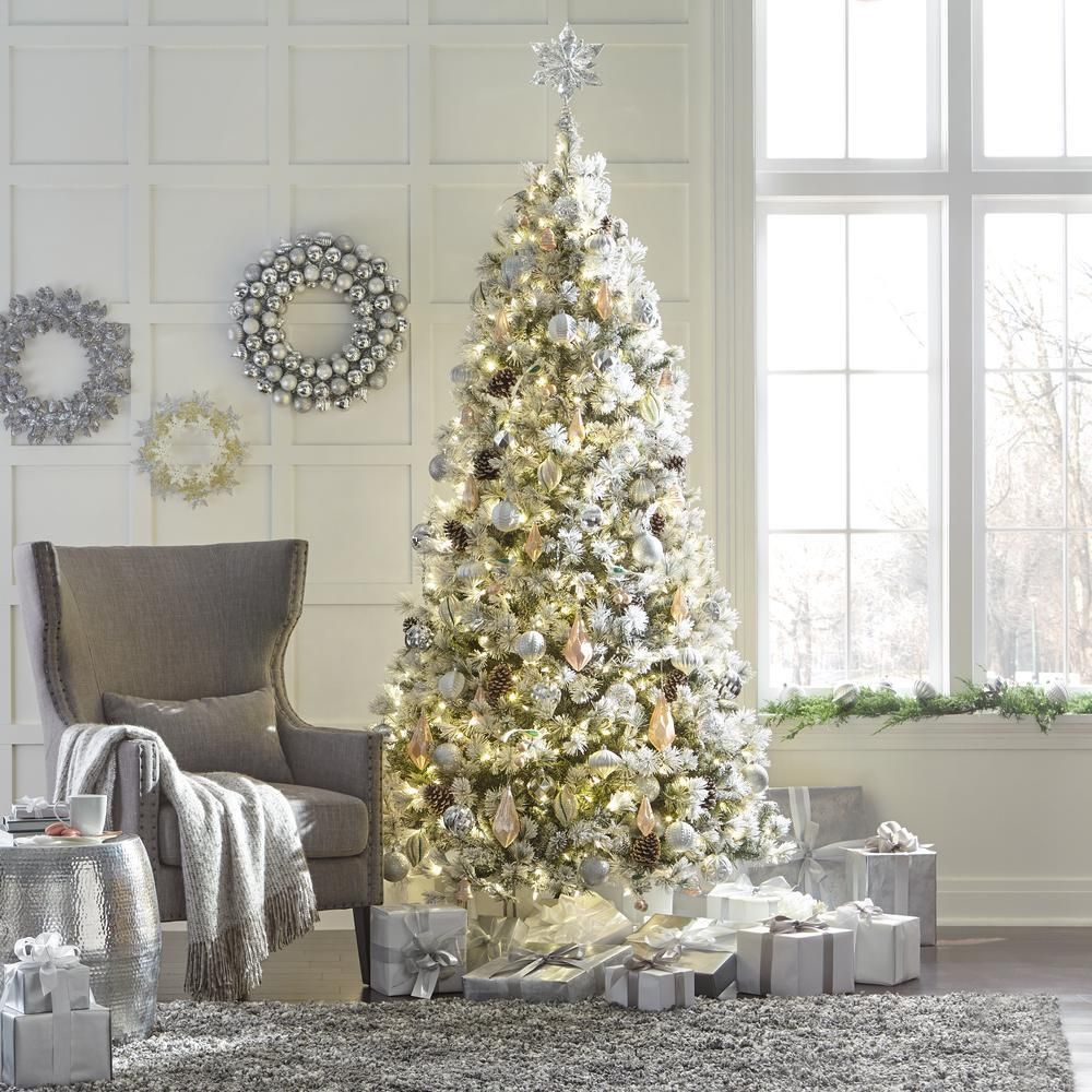 Home Accents Holiday 9 Ft Pre Lit Led Flocked Lexington Pine Artificial Christmas Tree With 500 Warm White Lights Tg90m3c03l05 The Home Depot Home Decor Catalogs Christmas Home Home Decorators Collection