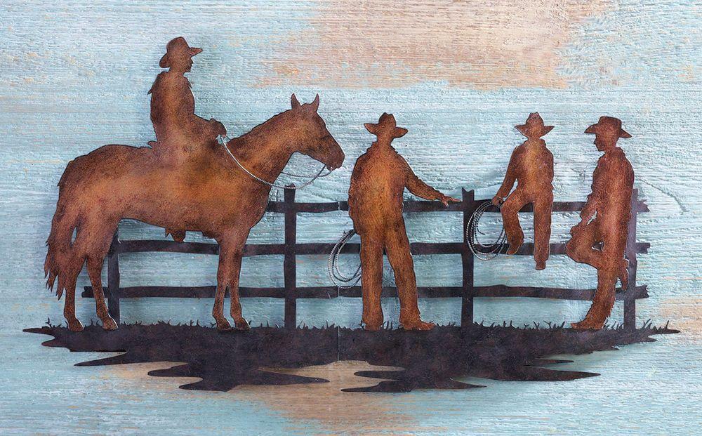 Western Cowboys Metal Wall Art Sculptures Home Decor Cowboy Ranch Horses #WESTERN