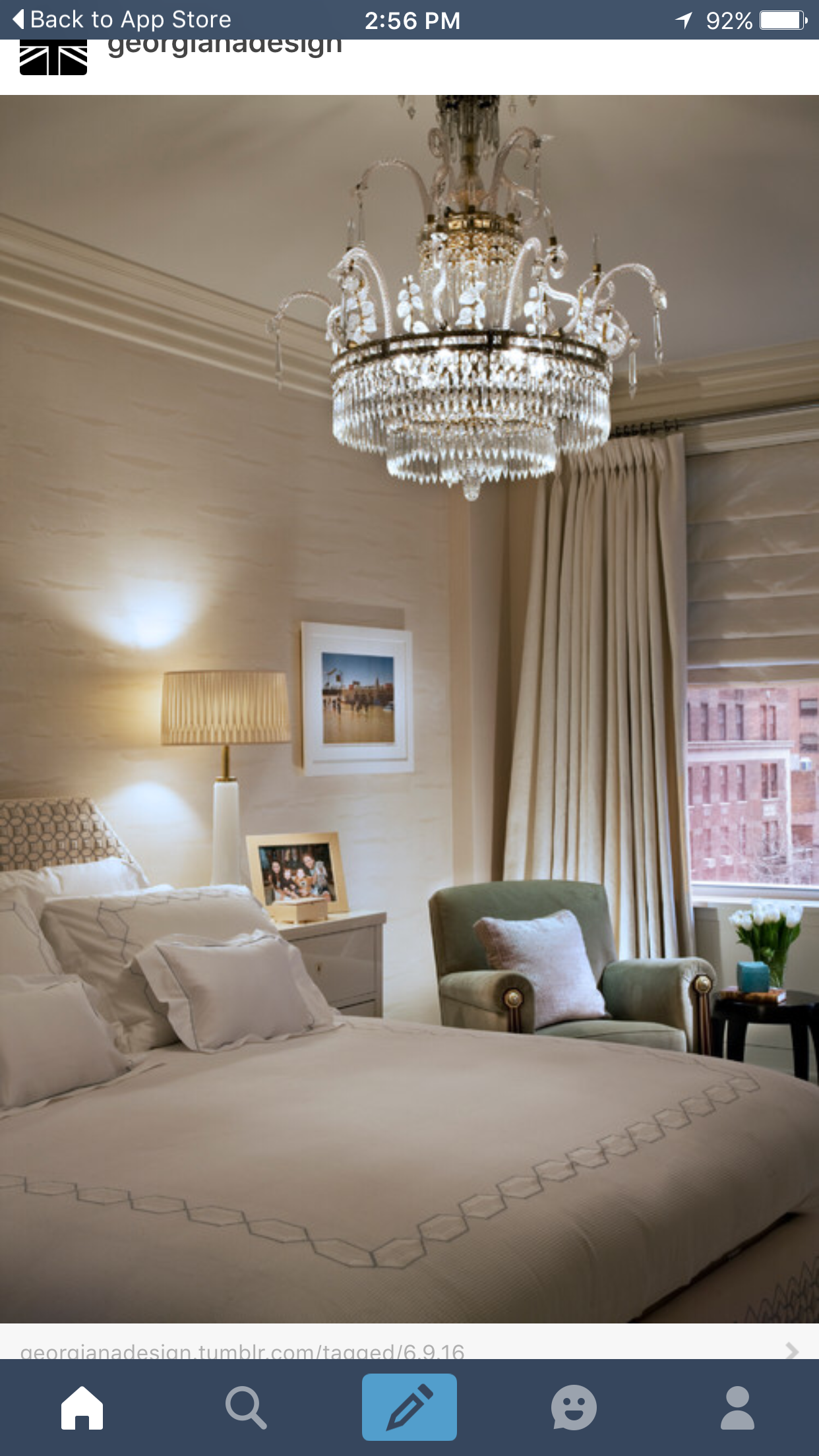 A Chandelier Over The Bed Adds