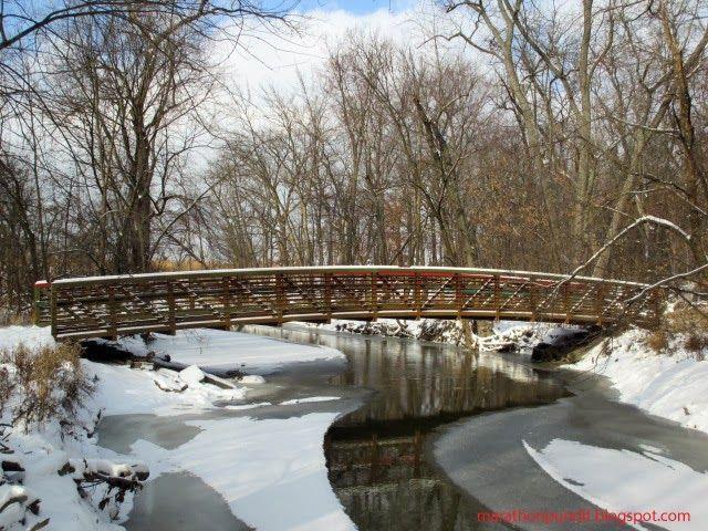 Bridge over a frozen North Branch of the Chicago River #mortongrove Bridge over a frozen North Branch of the Chicago River in Morton Grove, Illinois. #mortongrove