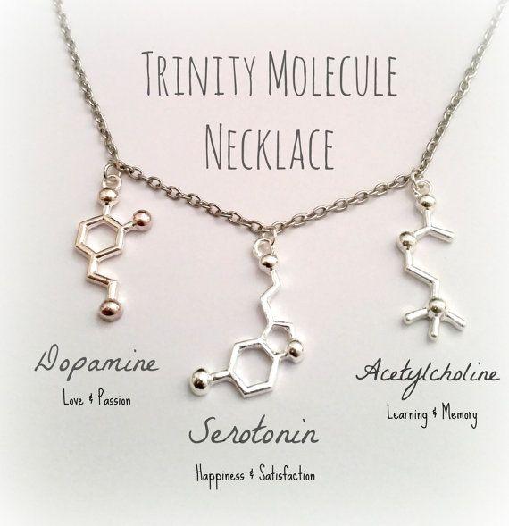 Dopamine Molecule Necklace: Molecule Jewelry Dopamine Serotonin Acetylcholine DNA