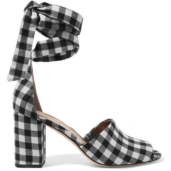 8fac152a3ab Sam Edelman Odele gingham canvas sandals found on Polyvore featuring shoes