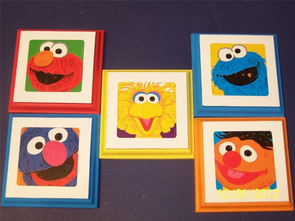 PBS Sesame Street Wall Plaques decor bedding 5 plaques & signs kids ...