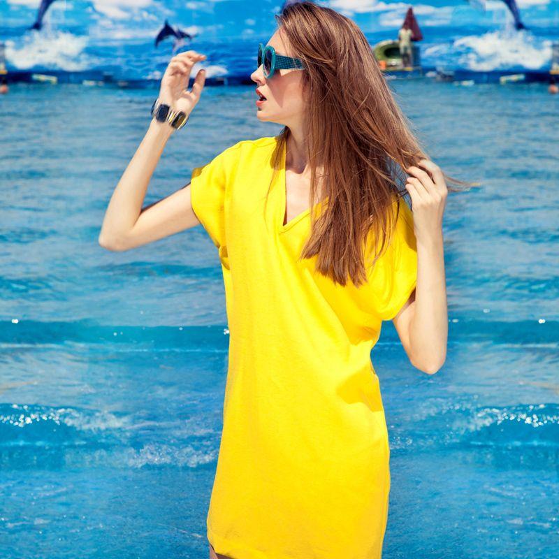 $27.7 loose shift dress bright yellow skirt -ZZKKO