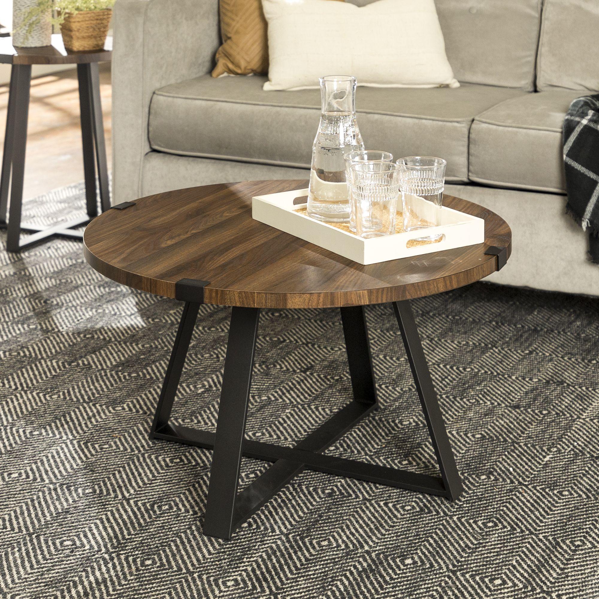 Slate Wrap Leg Dark Walnut Coffee Table By River Street Designs Walmart Com Round Wood Coffee Table Coffee Table Wood Living Room Coffee Table [ 2000 x 2000 Pixel ]