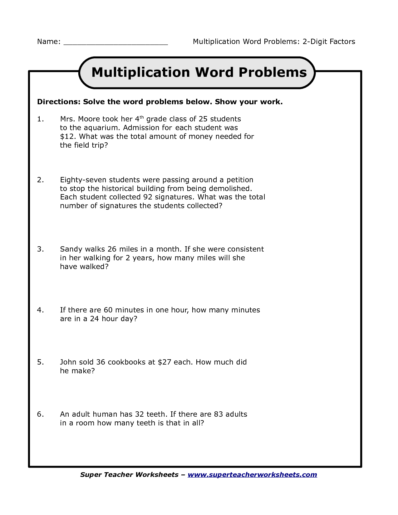 3rd Grade Division Word Problem Worksheet