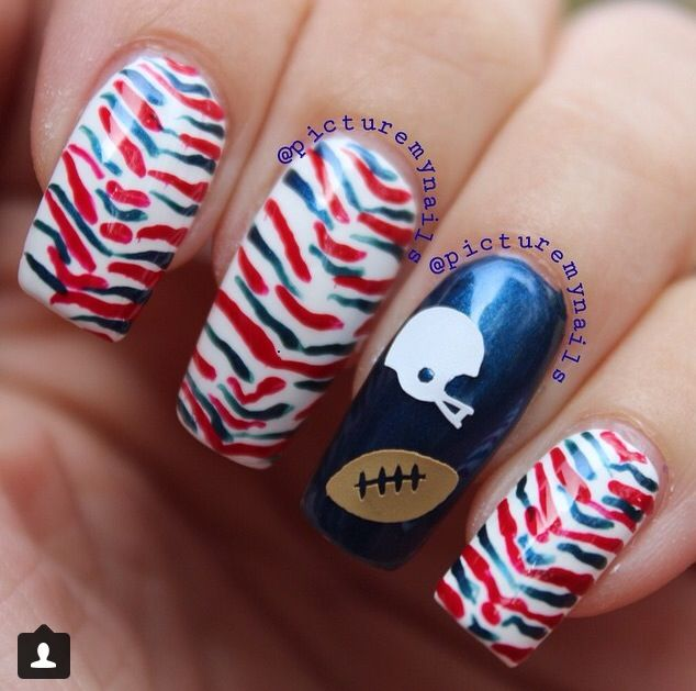 Buffalo Bills manicure using #gridlocklacquer nail decals ...