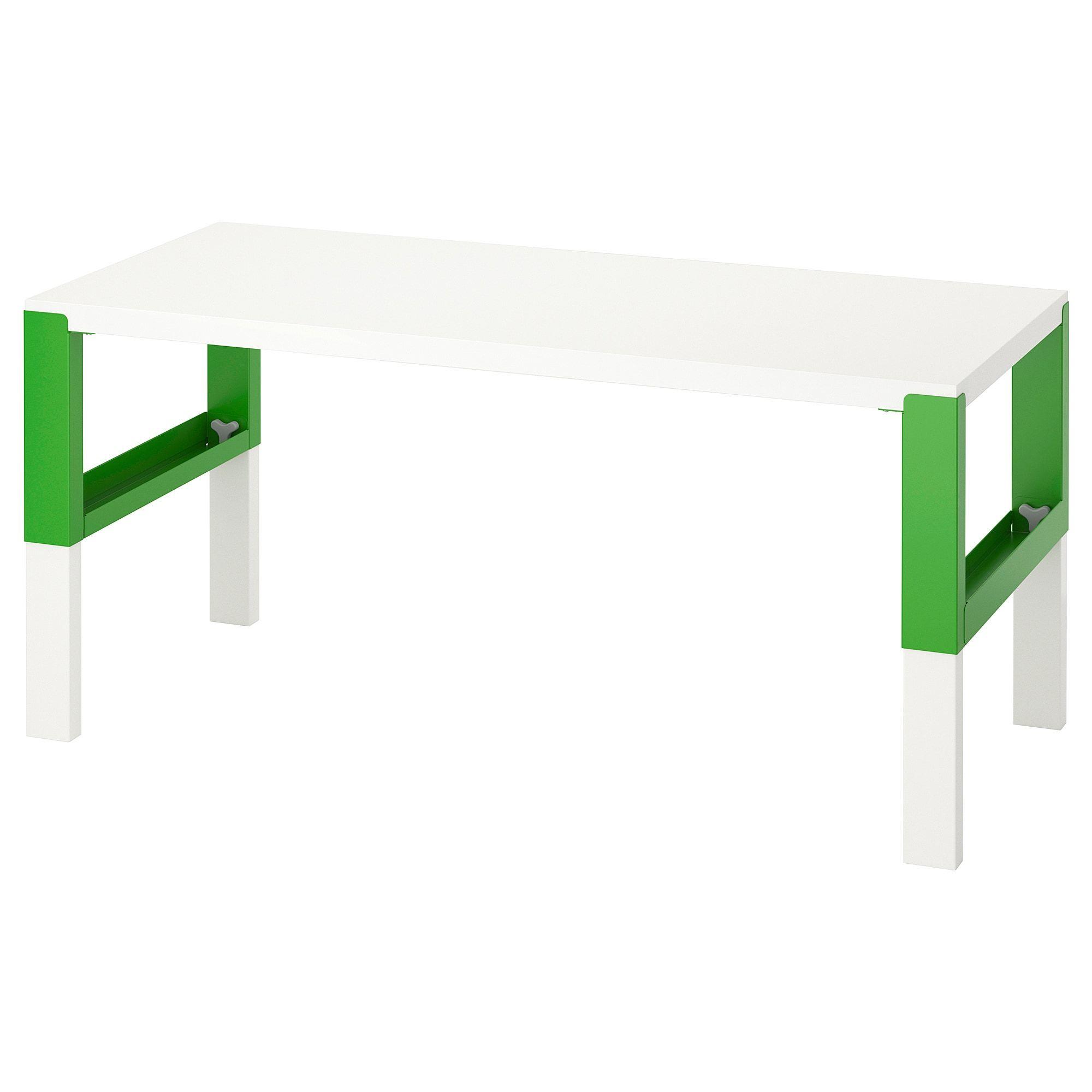 Ikea Pahl White Green Desk In 2020 White Desks Ikea Kid Desk
