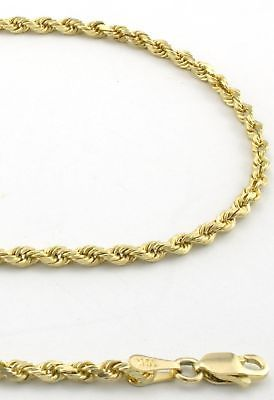 3b966cc1a0bb Real 10K Yellow Gold 2mm Diamond Cut Hollow Rope Chain Necklace Men Women-  24