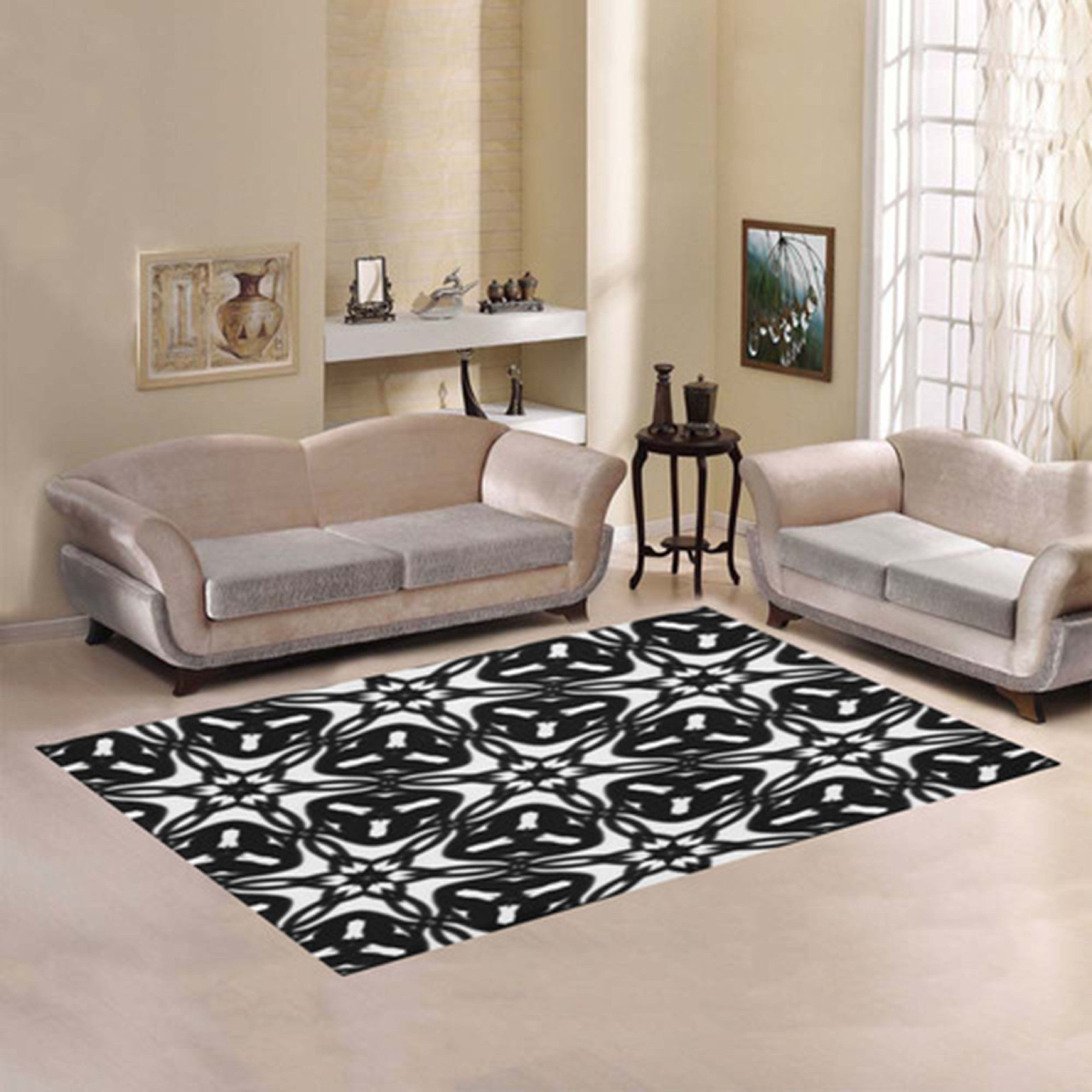 Black and White Star Flakes 9867 Area Rug. Matching curtains also available.