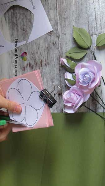 How To Make Easy Paper Rose Free Template Crafts Paper