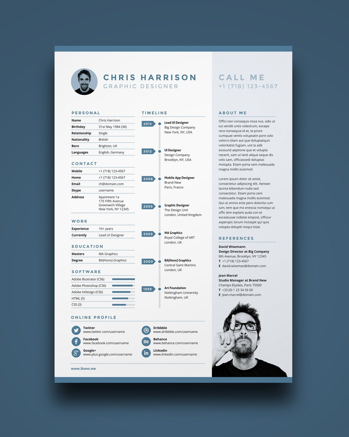 creative resume template in psd format pinteres resume is a one page resume template you can for this simple
