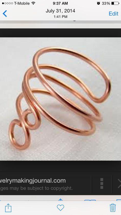 schlichter aber aufflälliger Ring in kupfer | DIY Draht Anhänger und ...