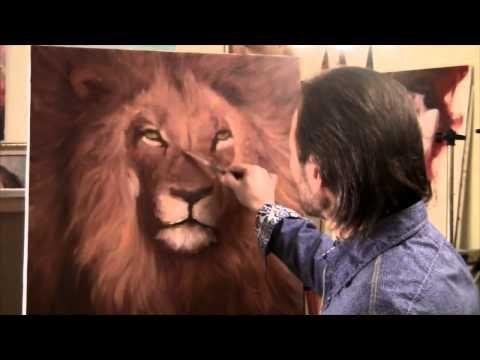 Full length how to paint a lion - unusual technique peinture