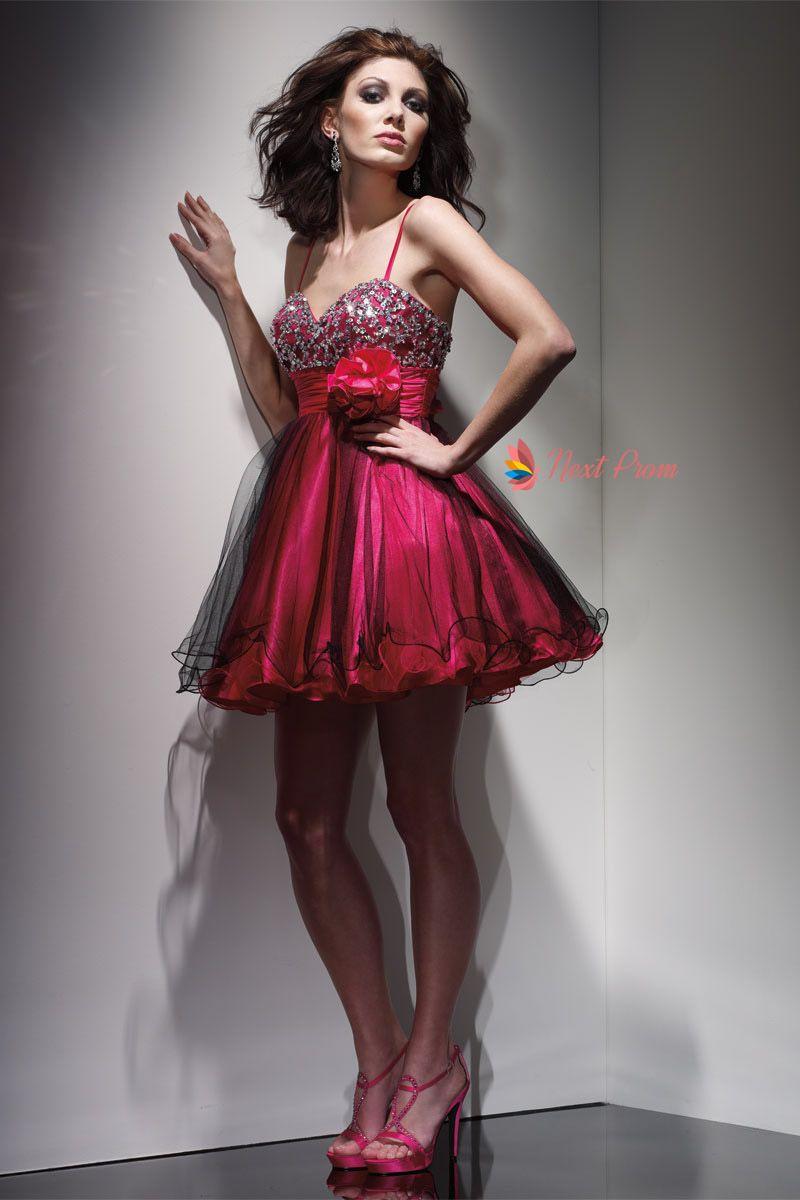 Fuschia Prom Dresses Short Spaghetti Strap