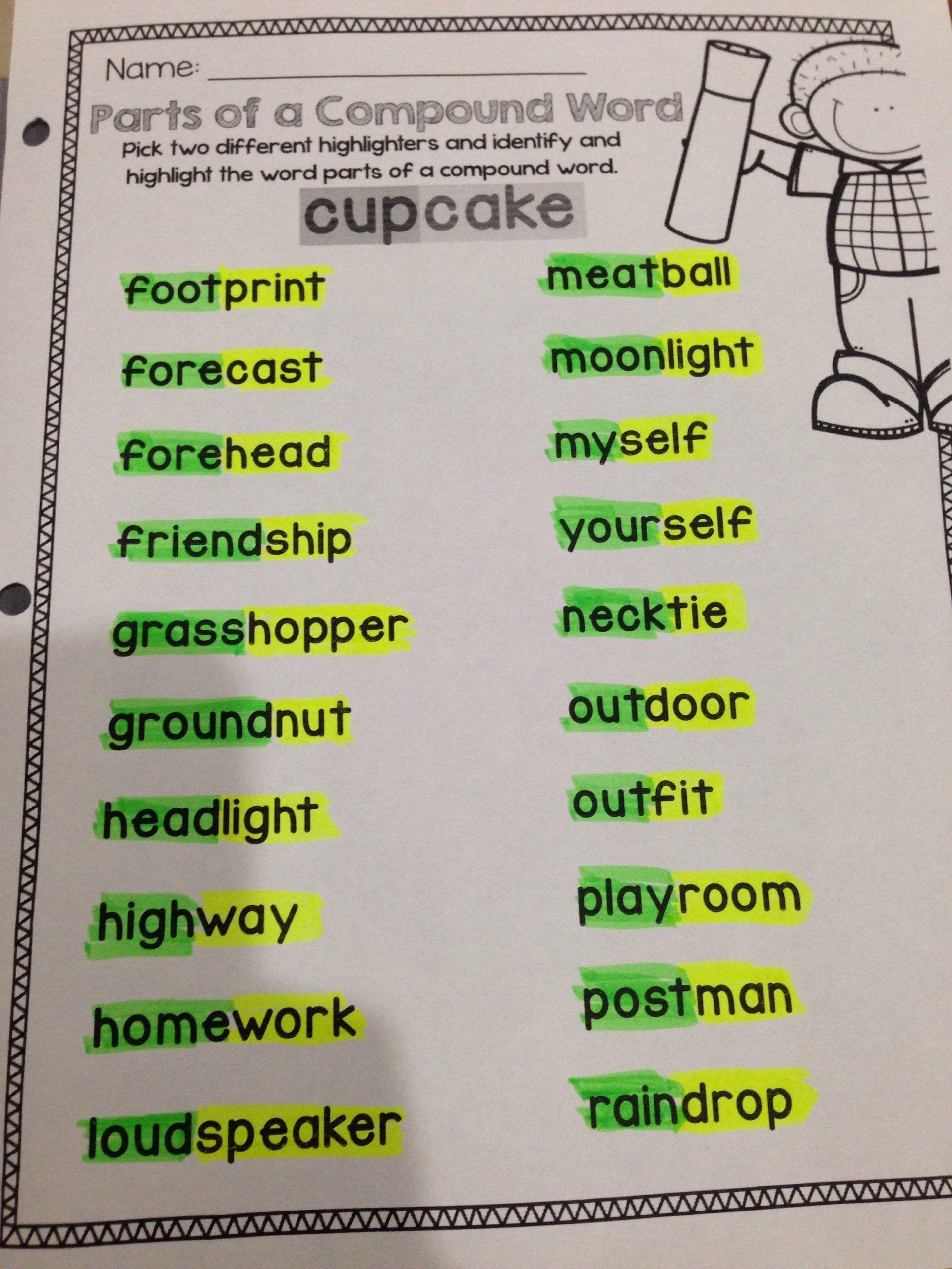 Compound Words Worksheet For Kindergarten Worksheet For Kindergarten In 2020 Compound Words Compound Words Activities Compound Words Worksheets