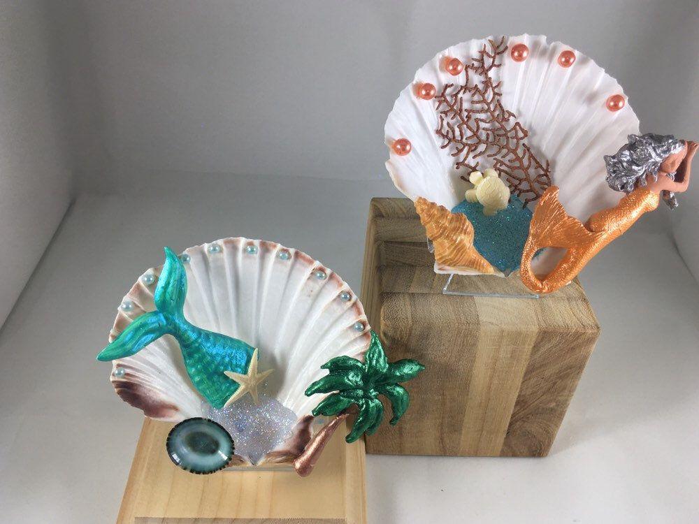 Original Mermaid Shell Ornaments Seahorse Shell Ornaments Shell Shelf Sitters Coastal Ornaments Unique Beach Ornaments Shell Ornaments Beach Ornaments Mermaid Shell