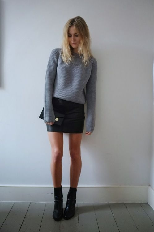 Minimal trends   Grey sweater, leather mini skirt, ankle boots, clutch