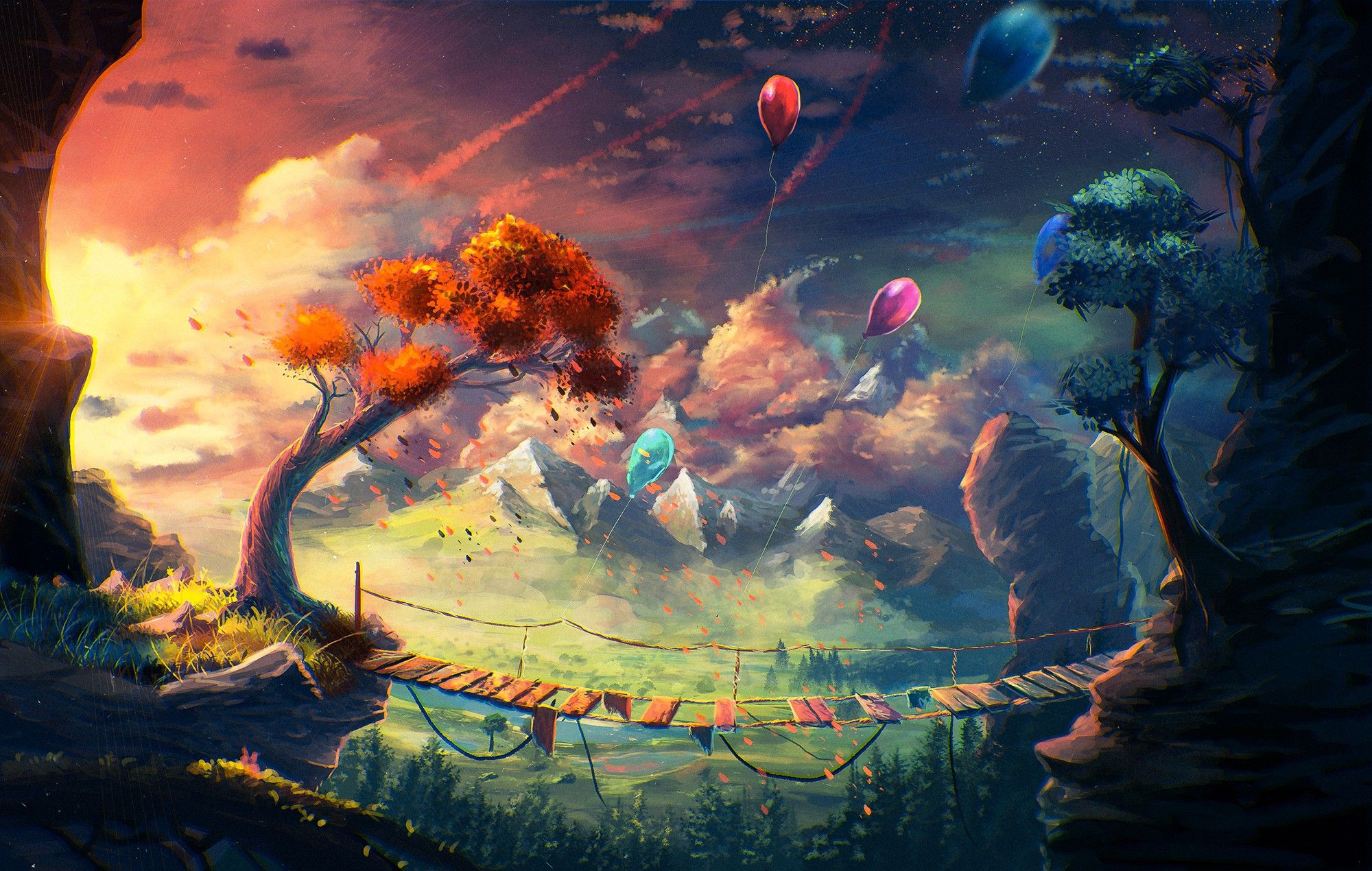 Download Hd Wallpapers Of 86915 Anime Artwork Fantasy Art Mountain Bridge Balloons Sylar Clouds Free Down Sky Painting Colorful Landscape Anime Artwork Anime art hd wallpapers