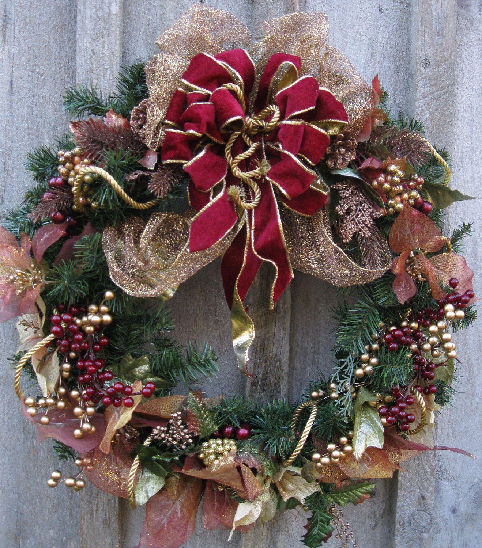 Christmas Wreath Holiday Door Victorian Decor Elegant Velvet Bow
