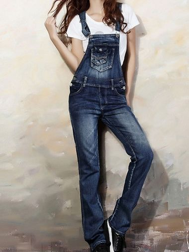 860a732d21 Stylish Denim Straps Straight Cut Classic Fit Jumpsuit on buytrends ...