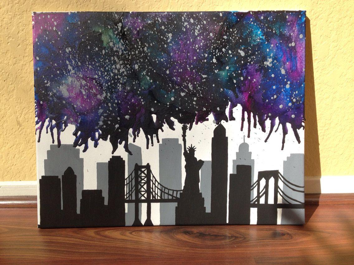 New York City Skyline Nebula Melted Crayon Art Crayon Art Melted Crayon Art Diy Crayola Art