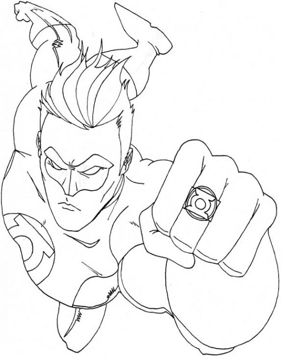 Superhero Coloring Page Of Green Lantern For Children