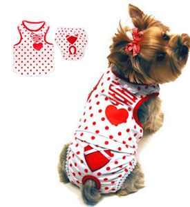 d1f2d0606a8a ... Dog Clothes taxonomy. Adorable 2 piece red polka dot tank top set with  adorable embellishment
