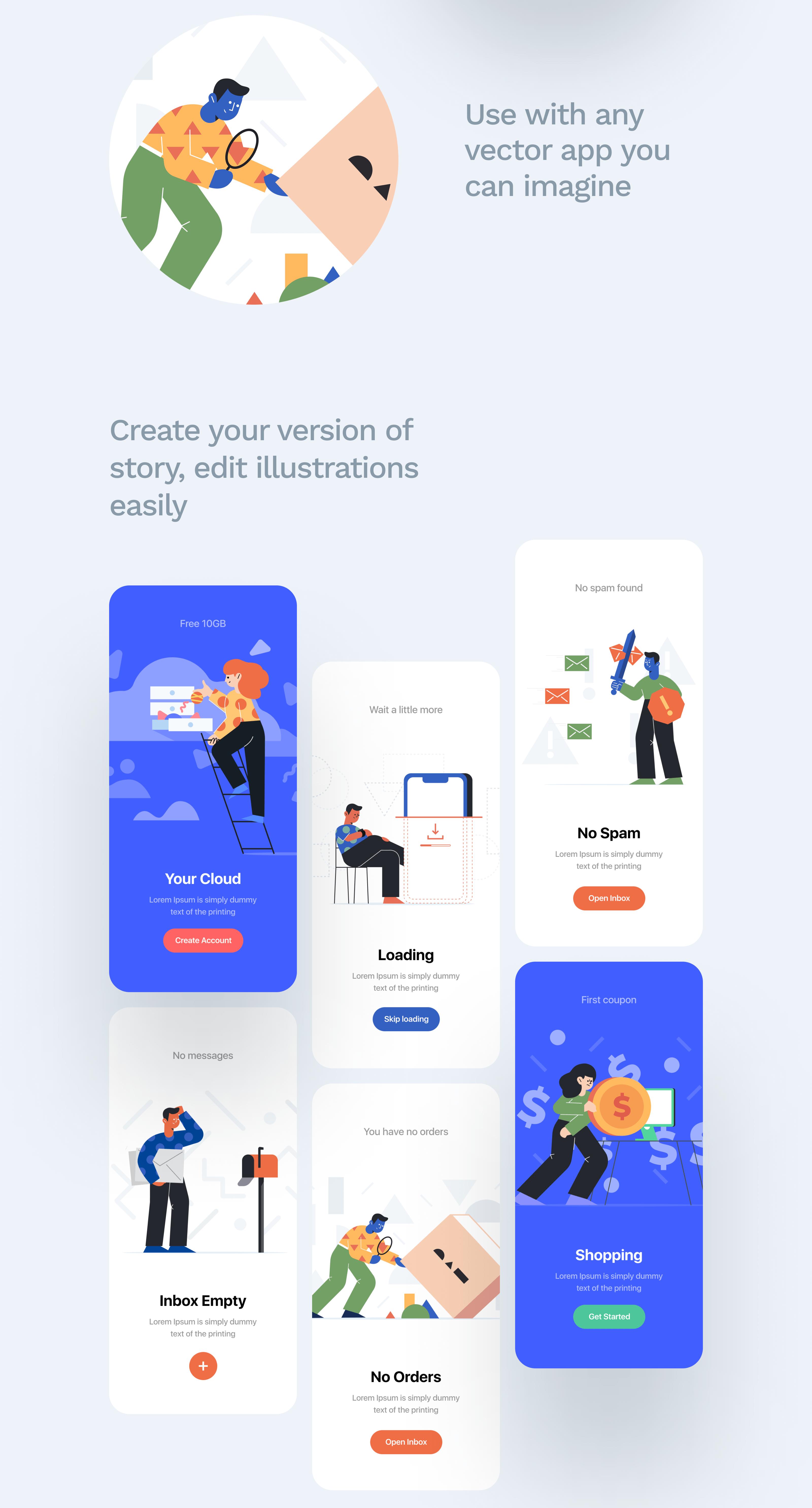 Unruly Illustrations Designmodo Market 모바일 앱, 웹디자인