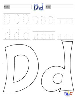 Tracing Practice and Coloring Letter Dd Worksheets