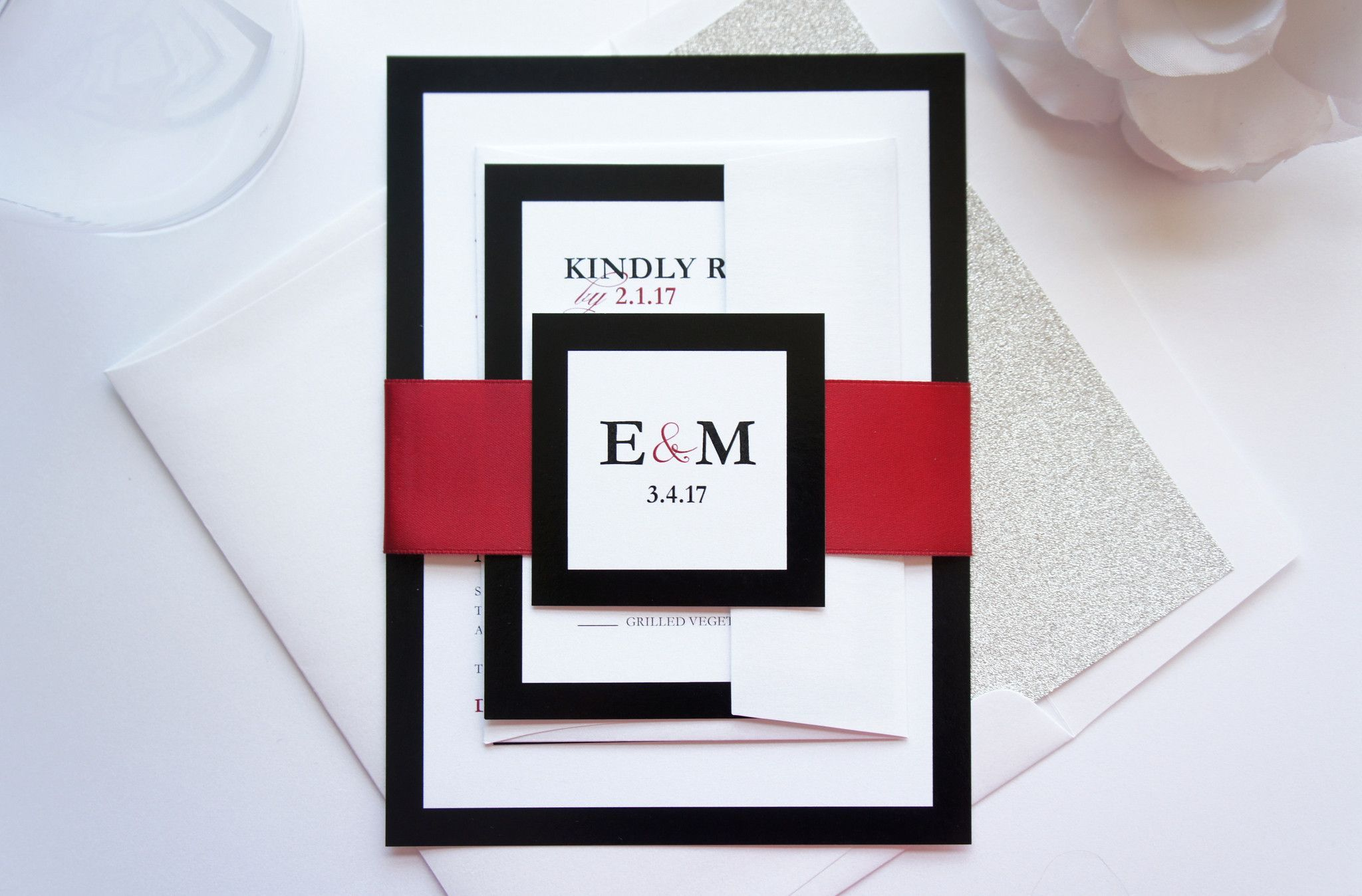 Modern Red Wedding Invitation - SAMPLE SET | Red wedding invitations ...