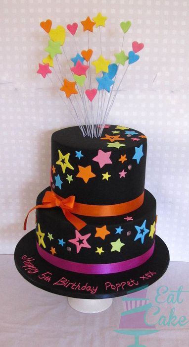 Black And Neon By KiwiEatCake  CakesDecorcom Cake Decorating - Neon birthday party cakes