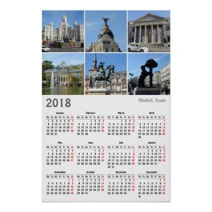 Images Of Madrid 2018 Calendar Poster Template Gifts Custom Diy