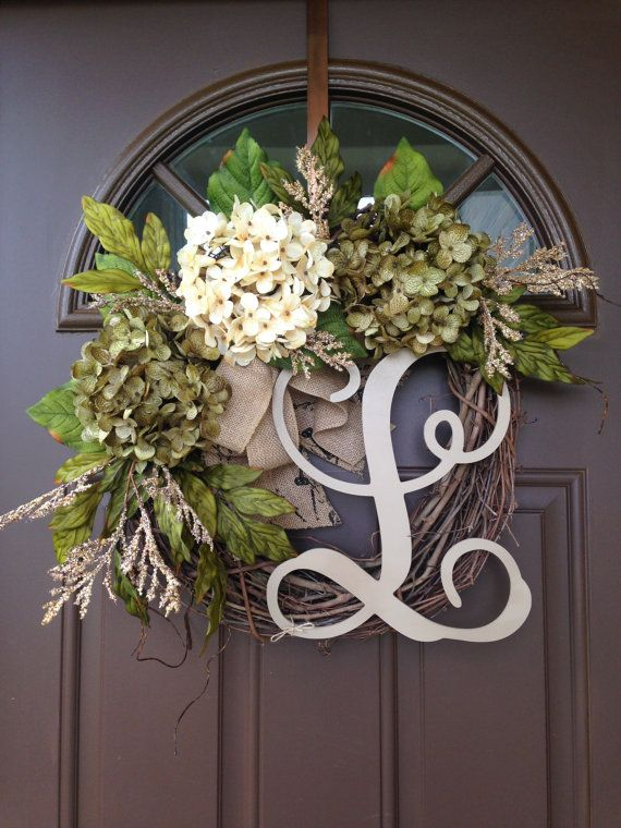 Awesome Year Round Hydrangea Wreath For Front Door Monogrammed