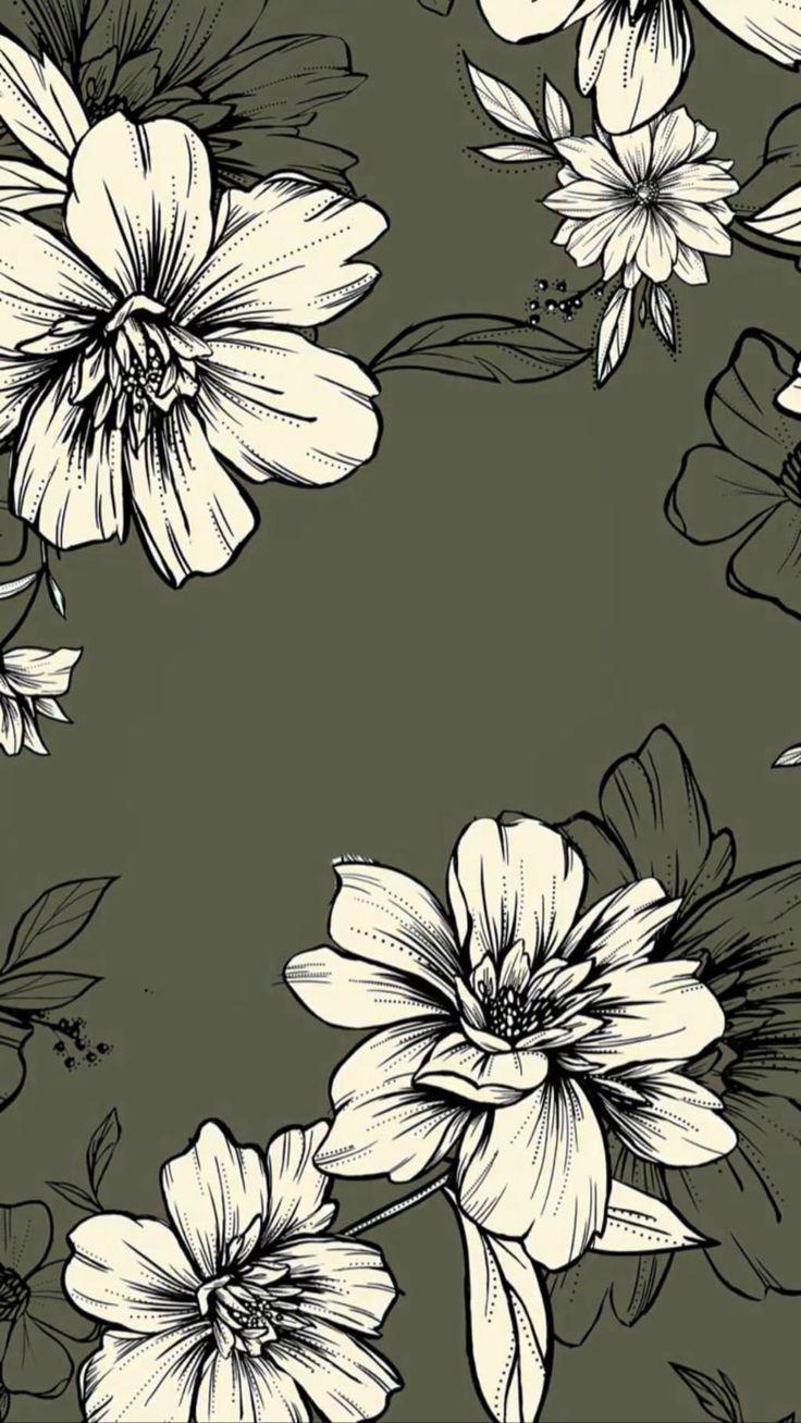 Green Elegant Flowers Elegant Flowers Green Phone Background Patterns Pattern Wallpaper Iphone Background Wallpaper