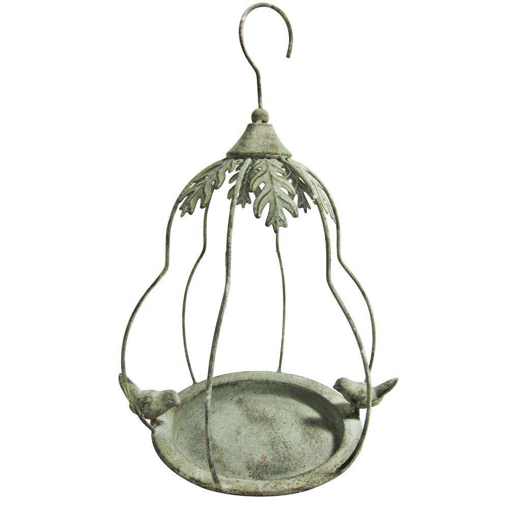 Hanging Metal Bird Feeder Shabby Chic Grey