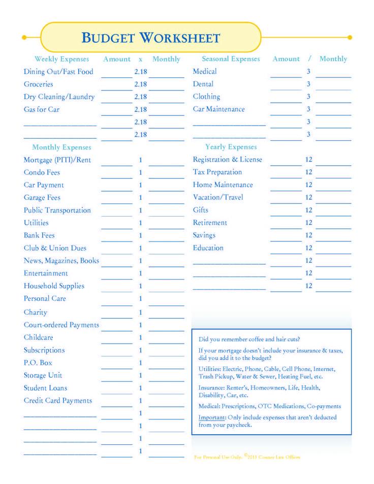 707549ebb7945db021d2a15b19e161cc--budget-worksheets-budgeting - budget forms