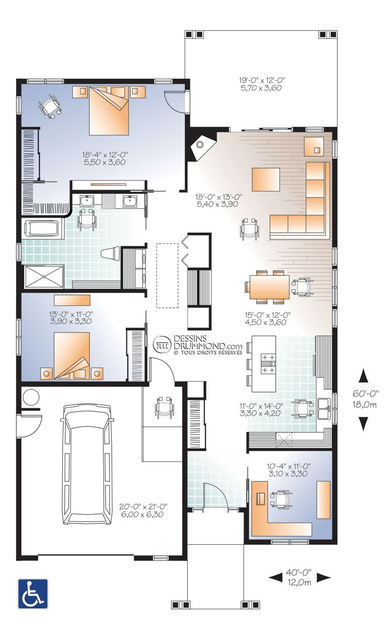Traditional Style House Plans   1773 Square Foot Home , 1 Story, 3 Bedroom  And 1 Bath, 1 Garage Stalls By Monster House Plans   Plan