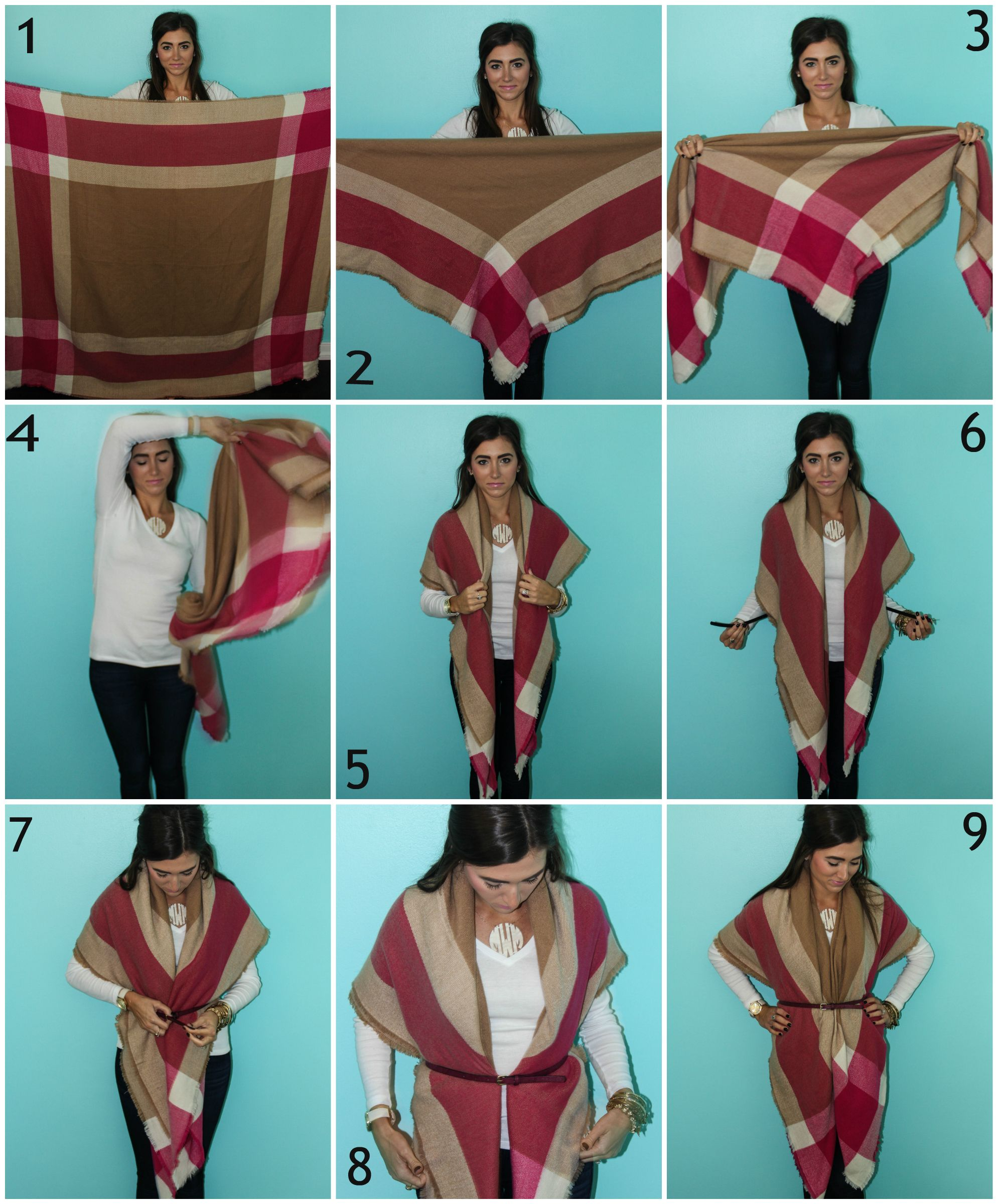 1. Start with your scarf open. 2. Fold it corner to corner into a large  triangle. 3. Fold the long side down once to take some of the length off  the bottom. 617eac93c6