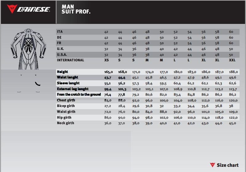 Dainese One Piece Suit Size Chart Di 2020
