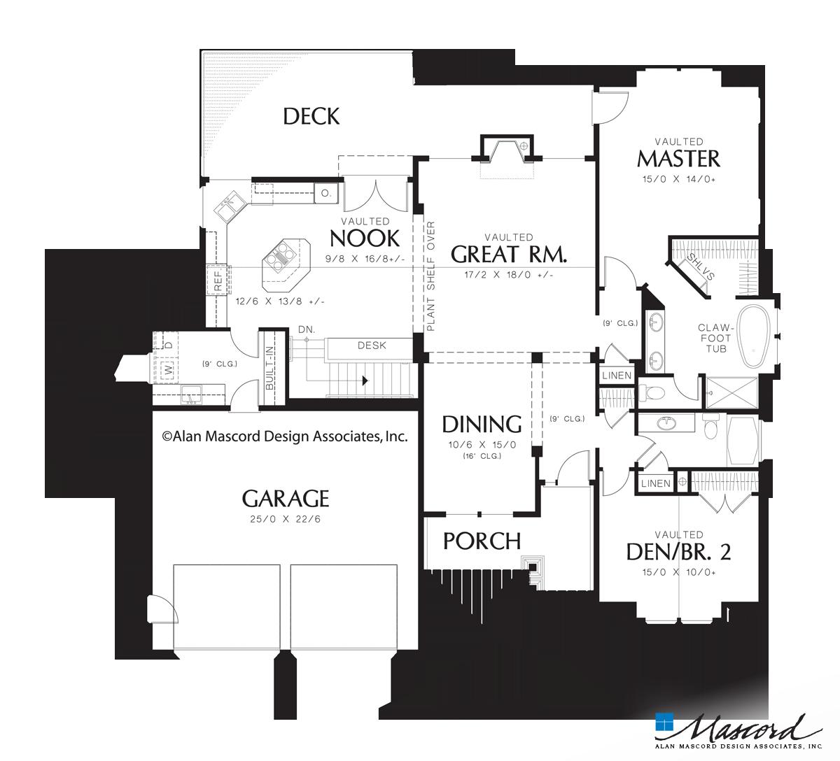 Main Floor Plan Of Mascord Plan 1201j The Dawson Single Story Daylight Basement Plan Craftsman Floor Plans Basement House Plans Craftsman Style House Plans
