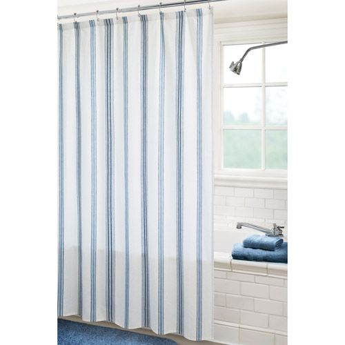 Indigo Blue, White And Teal Shower Curtains | ... Stripe Shower Curtain,