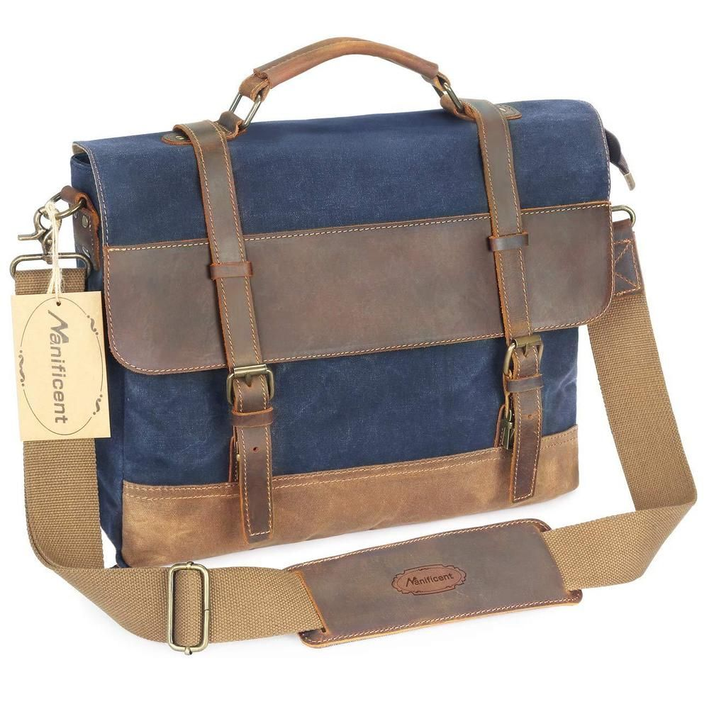 2797c4e4dbbf 16 Inch Mens Messenger Bag Vintage Waxed Canvas Leather Large Waterproof  Blue  fashion  clothing  shoes  accessories  mensaccessories  bags (ebay  link)