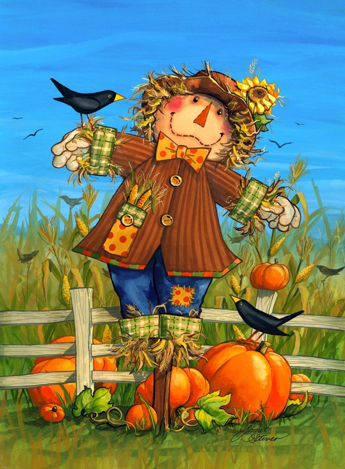 1105 1500 october scarecrow fall garden harvest crows autumn