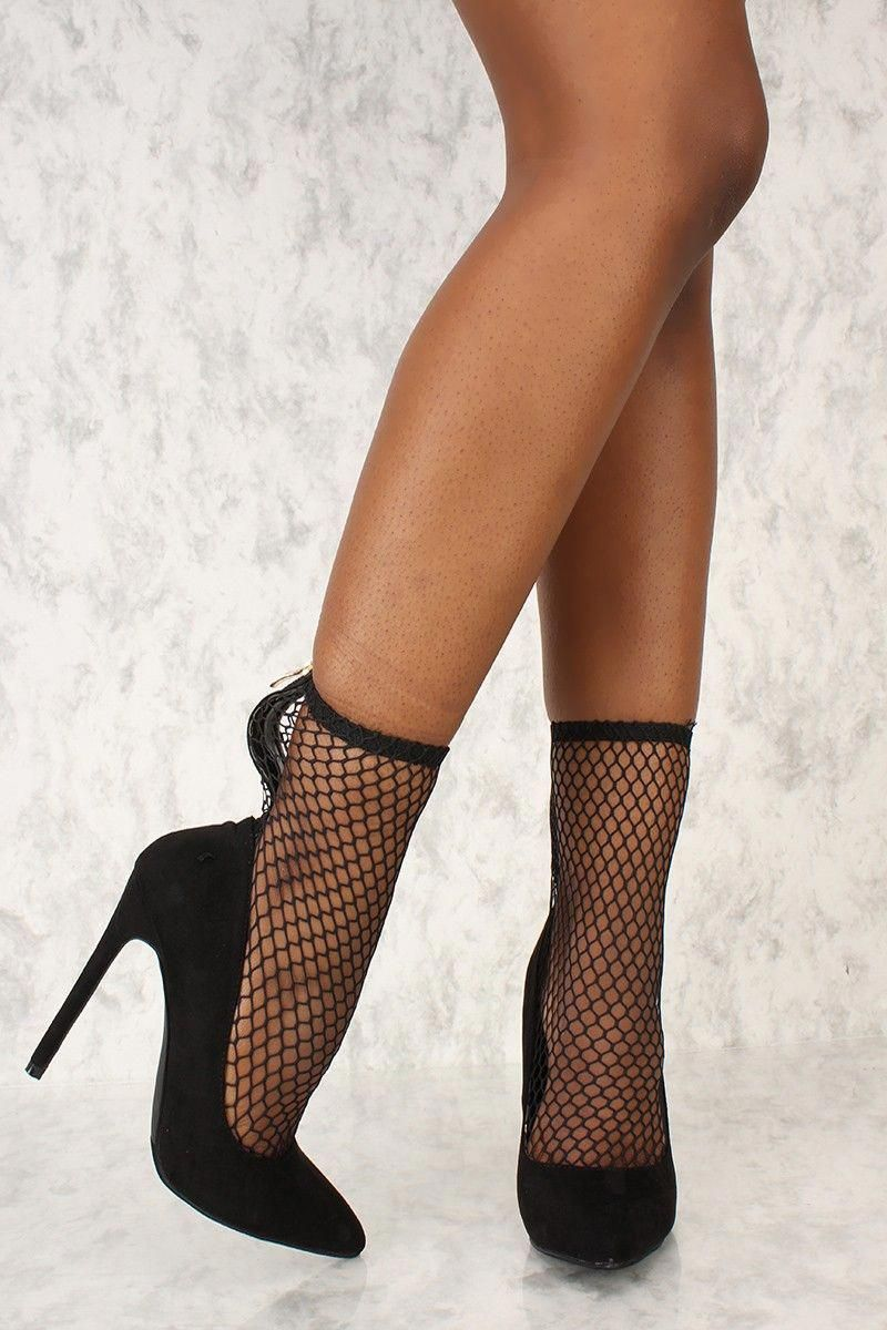 76343109c1e 80s!!!!!! Buy Sexy Black Netted Pointy Close Toe High Heels Booties ...