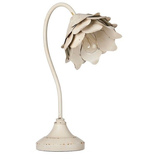 Distressed White Metal Flower Table Lamp 40 Liked On Polyvore