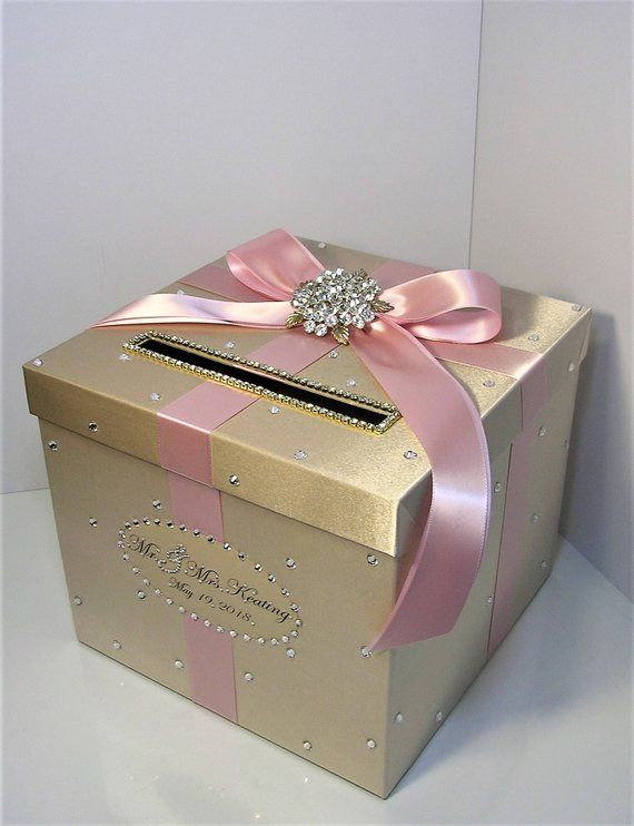 Wedding /Quinceañera/Sweet 16 Card Box Champagne and Blush pink/light pink Gift Card Box Money Box Holder-Customize your color #fiestade15años
