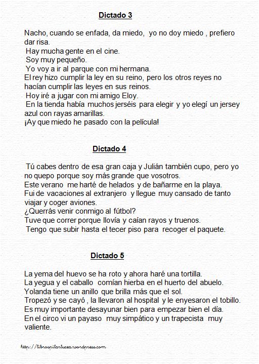 Dictado 3, 4 y 5 | Spanish Instruction materials | Lengua española ...