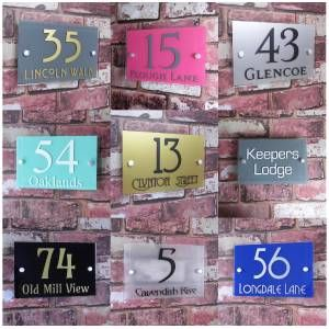 personalised house sign door number street address plaque modern