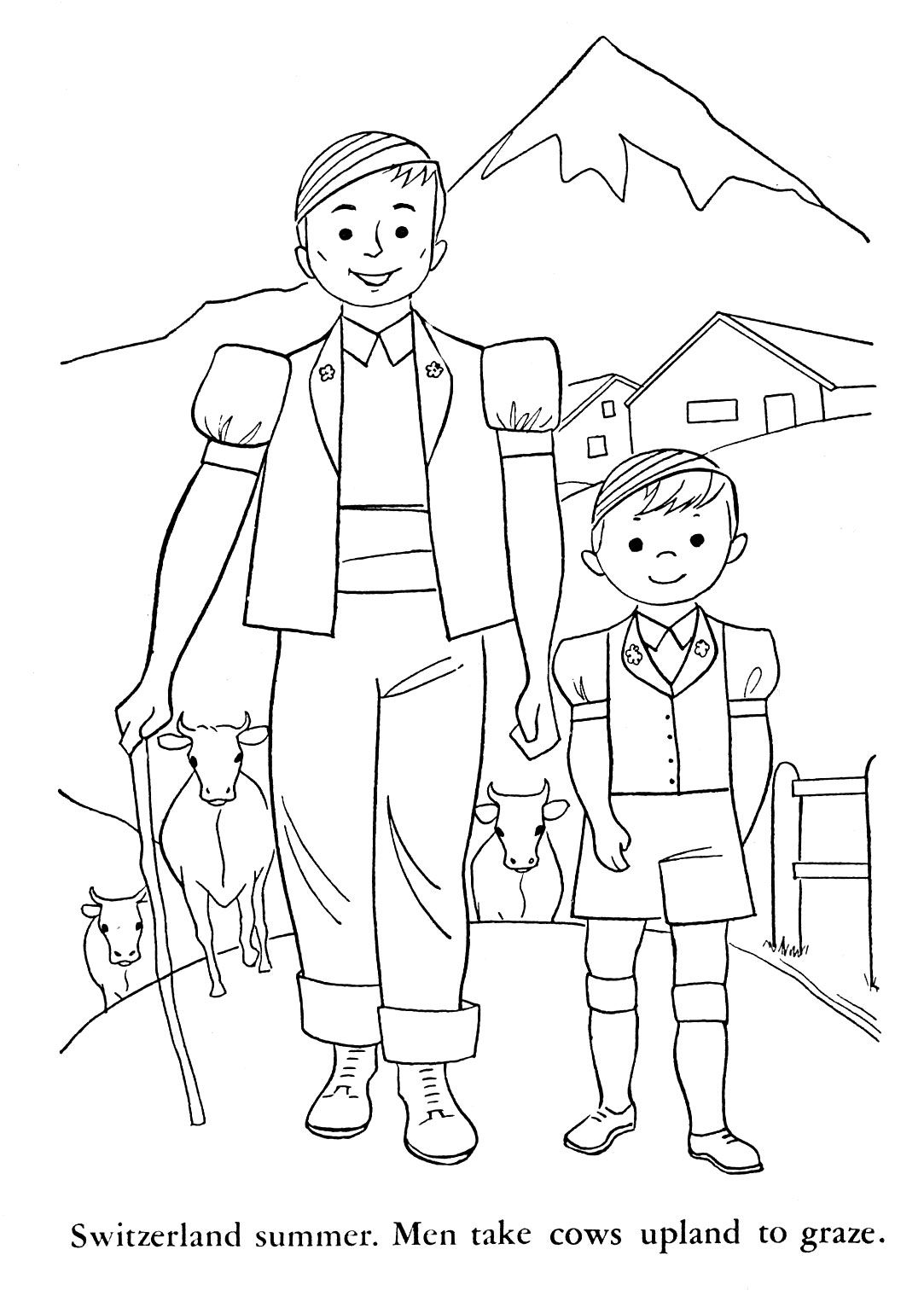 switzerland coloring pages for kids | Children of Other Lands, 1954 ...